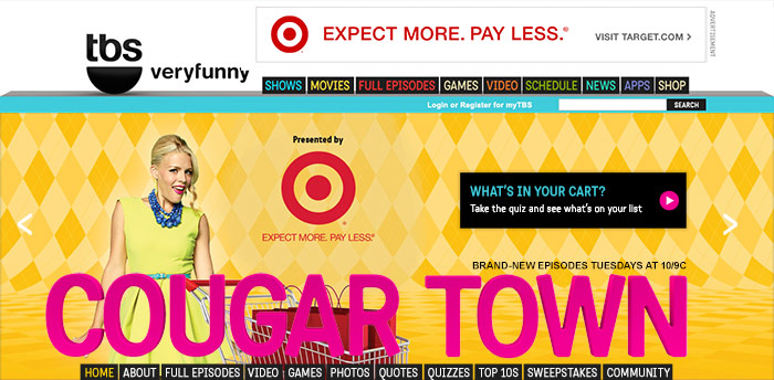 Co-branded promotion featured on Cougartown microsite carousel.