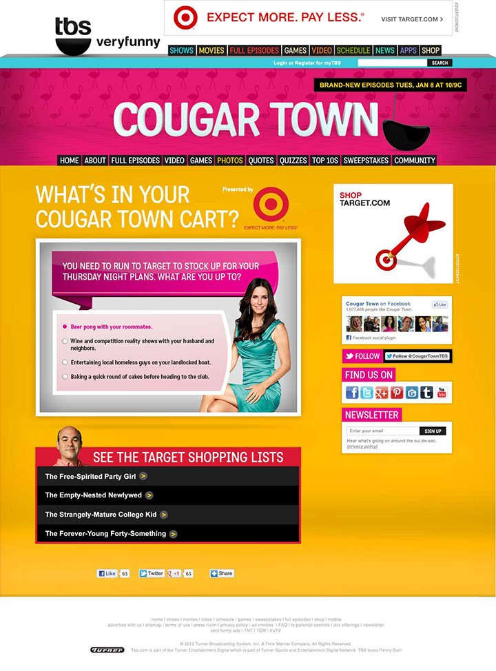 Users answer multiple questions and based on their answers arrive at a Cougar Town personality.